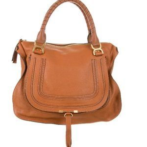 NEW-Cinnamon Calfskin Chloe Large Marcie satchel